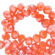 Top faceted beads 3x2mm disc Fireopal Orange-Pearl Shine Coating