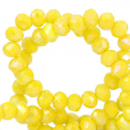 Top faceted beads 4x3mm disc Citrine Yellow-Diamond Coating