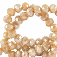 Top faceted beads 8x6mm disc Golden Shadow Opal-Amber Pearl Shine Coating
