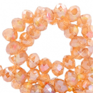 Top faceted beads 6x4mm disc Crystal Copper Orange-Diamond Coating