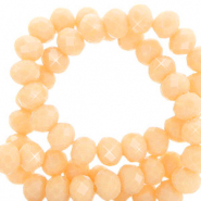 Top faceted beads 4x3mm disc Light Peach Nogat-Pearl Shine Coating