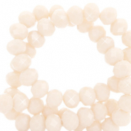 Top faceted beads 8x6mm disc Silk Off White-Pearl Shine Coating
