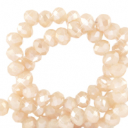 Top faceted beads 3x2mm disc Silk Off White-Pearl Shine Coating