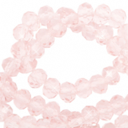 Top faceted beads 6x4mm disc Crystal Blush Rose-Pearl Shine Coating