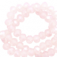 Top faceted beads 3x2mm disc Soft Pink Opal-Pearl Shine Coating