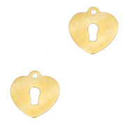 Stainless steel charms heart key lock Gold