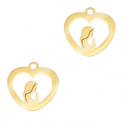 Stainless steel charms heart Maria Gold