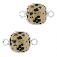 Natural stone charms connector 12x12mm Greige-Silver