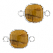 Natural stone charms connector 12x12mm Topaz Brown-Silver