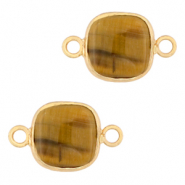 Natural stone charms connector 12x12mm Topaz Brown-Gold