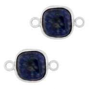 Natural stone charms connector 12x12mm Blue White-Silver