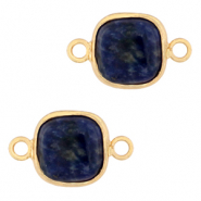 Natural stone charms connector 12x12mm Blue White-Gold