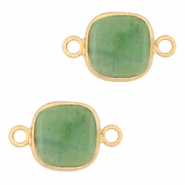 Natural stone charms connector 12x12mm Ocean Green-Gold