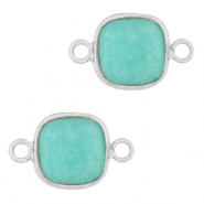 Natural stone charms connector 12x12mm Icy Turquoise Blue-Silver