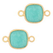 Natural stone charms connector 12x12mm Icy Turquoise Blue-Gold