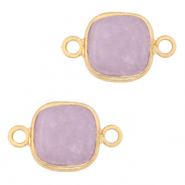 Natural stone charms connector 12x12mm Icy Lavender Purple-Gold
