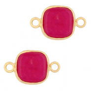 Natural stone charms connector 12x12mm Magenta Purple-Gold