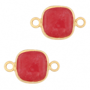 Natural stone charms connector 12x12mm Raspberry Pink-Gold