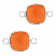 Natural stone charms connector 12x12mm Amberglow Orange-Silver