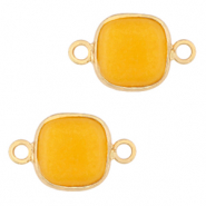 Natural stone charms connector 12x12mm Saffron Yellow-Gold