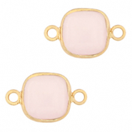 Natural stone charms connector 12x12mm White Rose-Gold