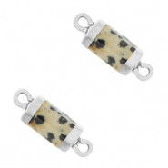 Natural stone charms connector hexagon Greige-Silver