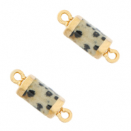 Natural stone charms connector hexagon Greige-Gold