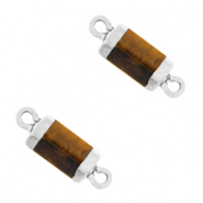Natural stone charms connector hexagon Topaz Brown-Silver