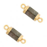 Natural stone charms connector hexagon Grayed Jade Green-Gold