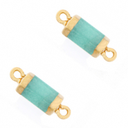 Natural stone charms connector hexagon Icy Turquoise Blue-Gold