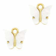 Charm with 1 loop butterfly White-Gold