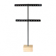 Jewellery display T-From for earrings with wooden standard Black-Wood