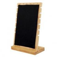Jewellery display wood with velvet for Necklaces Natural-Black