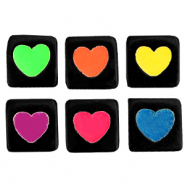 Acrylic letter beads hearts Black-Rainbow