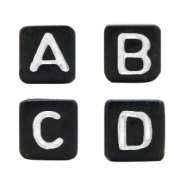 Acrylic letter beads mix Black-White
