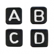 Acrylic letter beads mix Black-Silver