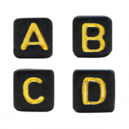 Acrylic letter beads mix Black-Gold