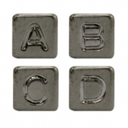 Acrylic letter beads mix Metal look Anthracite Silver