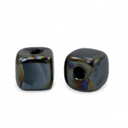 DQ greek ceramic beads cube 8mm Black