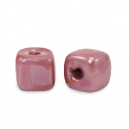 DQ greek ceramic beads cube 8mm Magenta Haze Pink