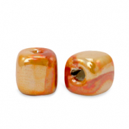 DQ greek ceramic beads cube 8mm Amberglow Orange