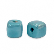 DQ greek ceramic beads cube 8mm Mosaic Blue