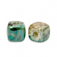 DQ greek ceramic beads cube 8mm Peacock Green-Beige Brown