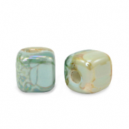 DQ greek ceramic beads cube 8mm Aqua Haze Green-Almond
