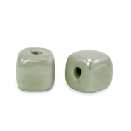DQ greek ceramic beads cube 8mm Green Slate