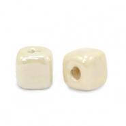 DQ greek ceramic beads cube 8mm Linen White