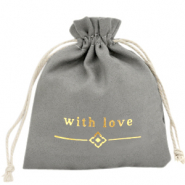 "Jewellery Bag ""with love"" Grey-Gold"