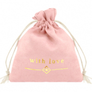 "Jewellery Bag ""with love"" Vintage Pink-Gold"