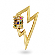 Zirconia rainbow charm/connector thunder Gold