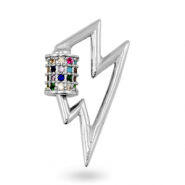 Zirconia rainbow charm/connector thunder Silver